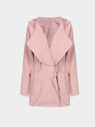 Lightweight Pink Long Sleeves Pockets Drawstring Waist Hoodie Outerwear