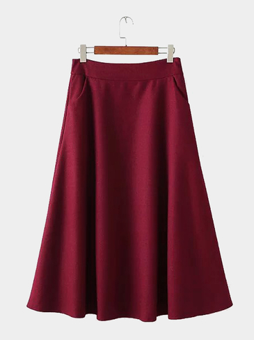 Burgundy Woolen Skirt with Pocket