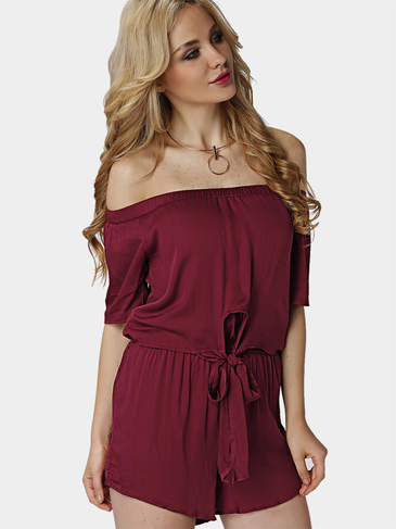 Off Shoulder Elastic Waist Tie Up Front Playsuit
