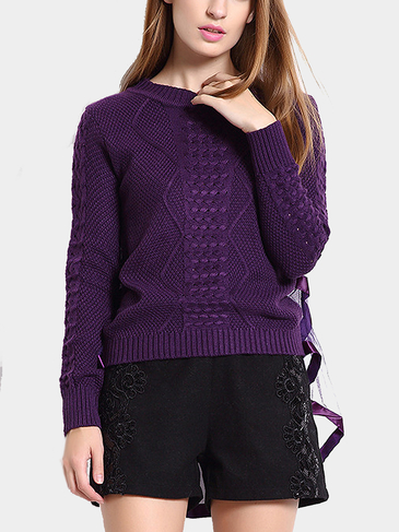 Purple Cable Jumper with Mesh Splice Back