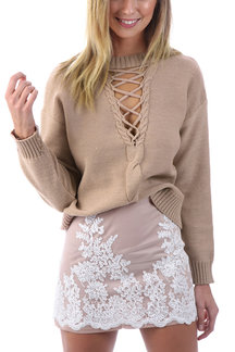 Nude Cross Front Hollow Out High Neck Jumper