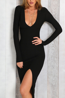 Sexy Plunge Long Sleeves Split Details Party Dress