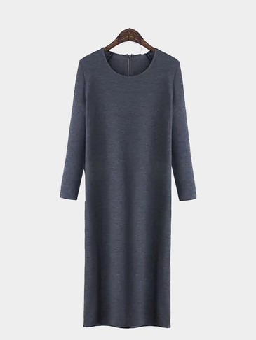 Long Sleeve Zip Knit Dress in Gray