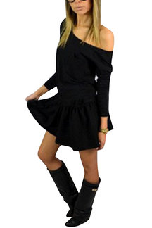 Casual Black Round Neck Pocket Front Waist Tie Mini Dress