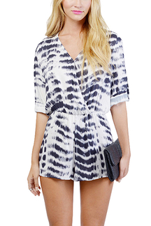 Dyed Snakeskin Wrap Front Romper