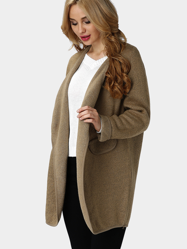 Khaki Knit Long Length Cardigan with Fake Pockets