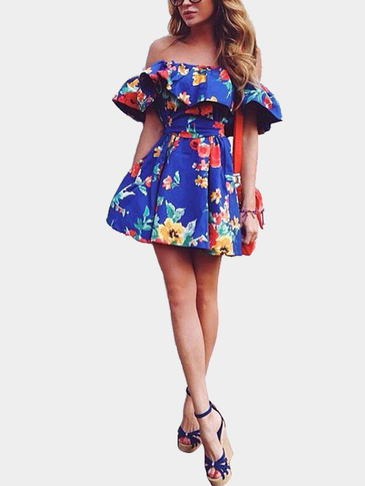 Off The Shoulder Floral Print Mini Dress with Flouncy Details