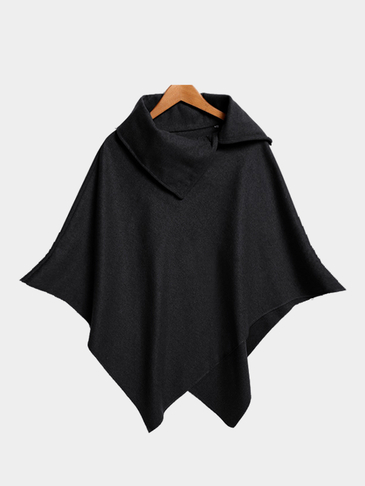 Black Rolled Neck Plain Color Irregular Hem Cape