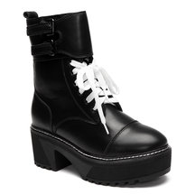 Black Lace-up Platfrom Short Boots with Buckle Design