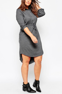 Plus Size Grey Shirt Dress with Dip Back Hem