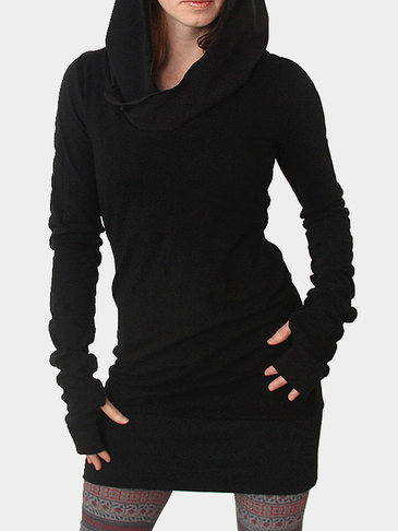 Long Sleeve Hooded Dress with Thumb Holes