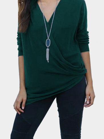 Green Fashion V-neck T-shirt