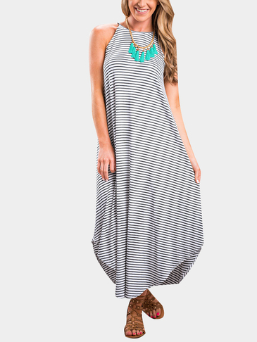 Stripe Pattern Sleeveless Irregular Hem Maxi Dress