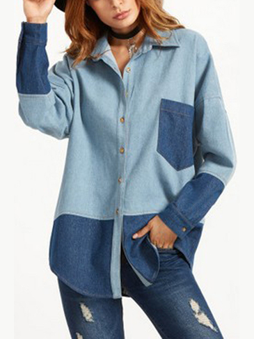 English Collar Denim Shirt with Patchwork Design
