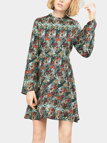Grass Printing Flared Sleeves Mini Dress