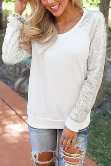 White Casual Sequin Long Sleeve Top