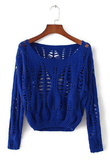 Blue Hollow Out Long Sleeves Sweater