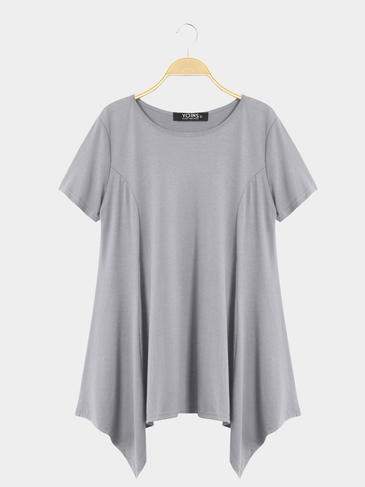 Grey Casual Round Neck Swing Mini Dress