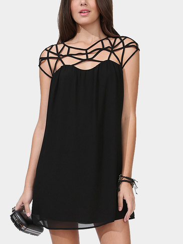 Black Sexy Weave Design Hollow Out Straps Details Mini Dress