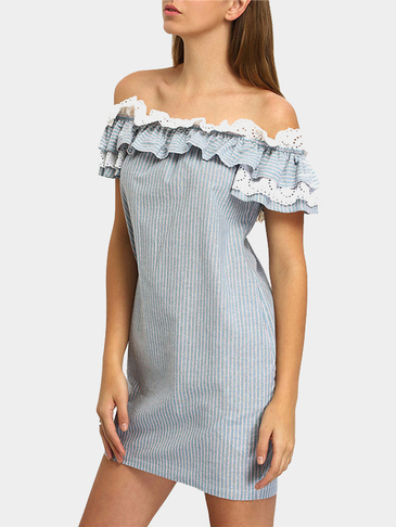 Off Shoulder Ruffled details Stripe Pattern Elastic Neckline Mini Dress