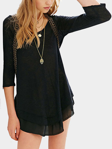 Black 3/4 Length Sleeves Semi-sheer Layered Simple Mini Dress