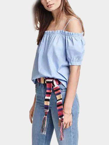 Light Blue Cold Shoulder Thin Strap Top