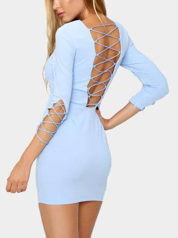Lace-up Detailing Exposed Back Concealed Zipper Mini Dress
