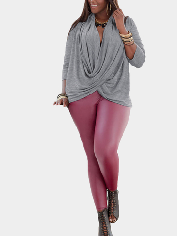 Plus Size Long Sleeves Top with Cross Details
