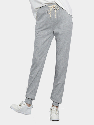 Gray Simple Style Trousers With Drawstring Waist