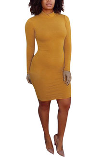 Yellow High Neck Long Sleeves Bodycon Mini Dress