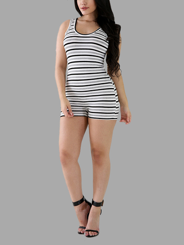 Stripe Pattern Sleeveless Scoop Neck Playsuit