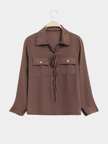 Sheer Semi Lace-up Front Pockets Long Sleeves Shirt