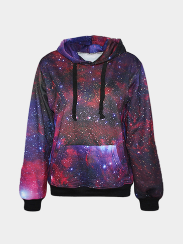 Casual Random Gradients Print Hooded Strap Front Sweatshirt