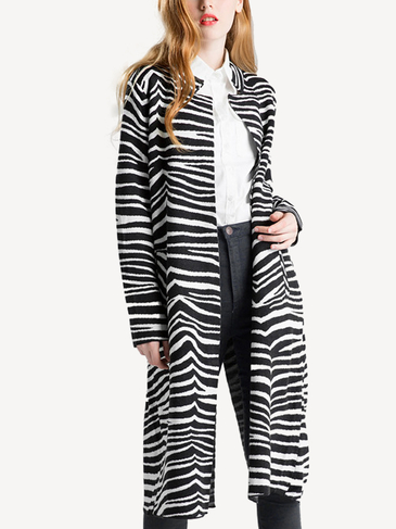 Black Zebra Stripe Knitted Cardigan