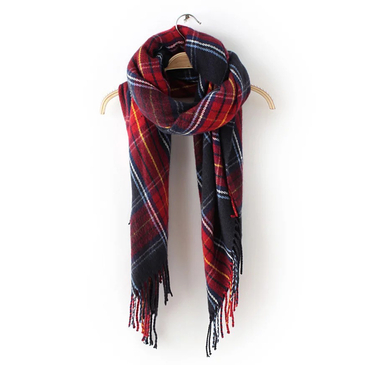 Dark Blue Woven Plaid Scarves