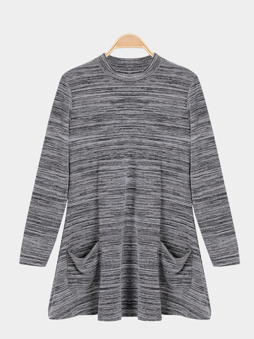 Grey Gradient Long Sleeves Front Pockets Mini Dress
