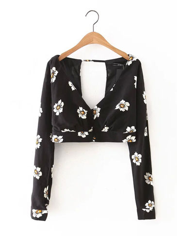 V-neck Open Back Floral Print Blouse