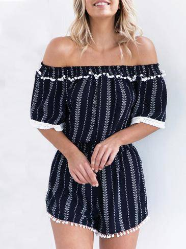 Sexy Off Shoulder Short Sleeves Playsuit With Elastic Waist