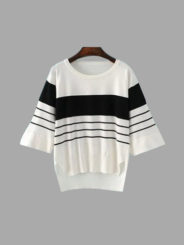 Round Neck Black and White Striped Slit Design Blouse