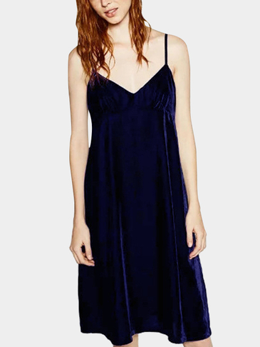 Navy Sexy Sleevesless Velvet Vest Dress