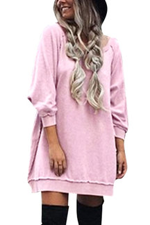 Pink Casual Loose Round Neck Sweatshirt