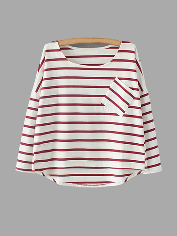 Red Stripe Pattern Loose Fit T-Shirt