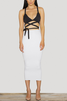 Sexy Bodycon Bralet Top & Midi Skirt Co-ord