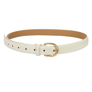 Leather-look Skinny Waist Belt with Engraved Buckle in White