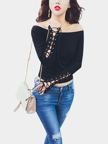 Black Off Shoulder Lace-up Long Sleeves Blouse