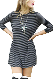 Grey Striped Ribbed Dress with Three-quarter Sleeves