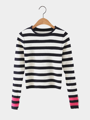 Contrast Color Stripe Pattern Round Neck Short Length Knitwear