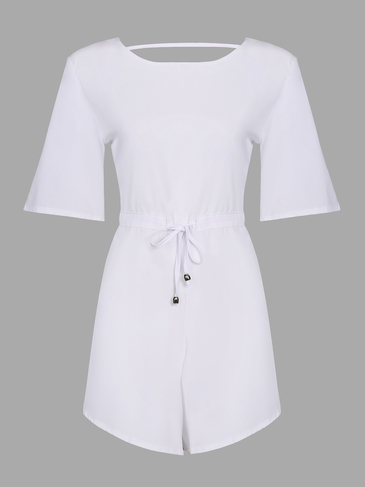 White Round Neck Sleeveless Self-tie High Waist Playsuit