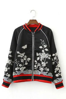 Fashion Embroidery Bomber Jacket In Black