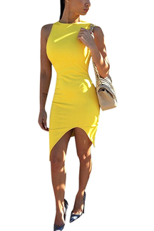 Yellow Sleeveless Bodycon Dress With Split
